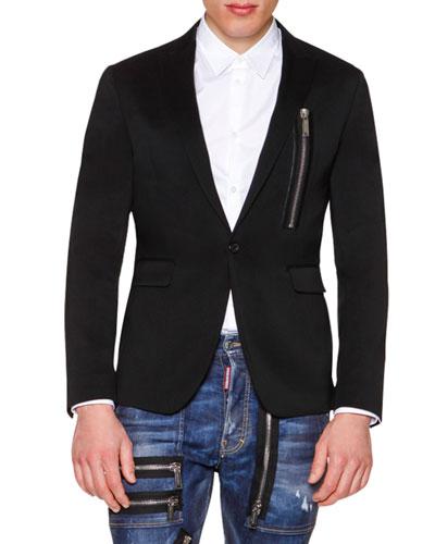 One-Button Wool Blazer with Zip-Detail, Black