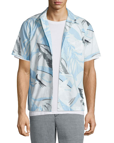 Kingston Hawaiian-Print Short-Sleeve Shirt, Blue