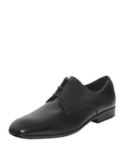 Laurent Calfskin Lace-Up on Rubber Sole, Black