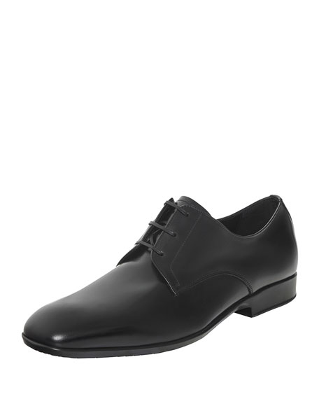 Calfskin Lace-Up on Rubber Sole, Black