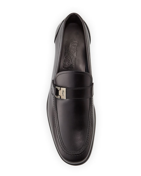 Calfskin Side-Buckle Loafer on Rubber Sole, Black