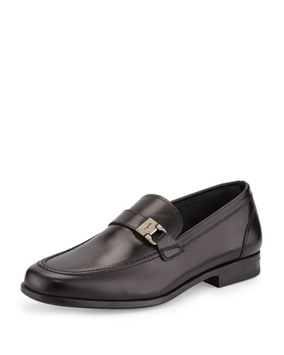 Lion Side-Buckle Leather Loafer, Nero