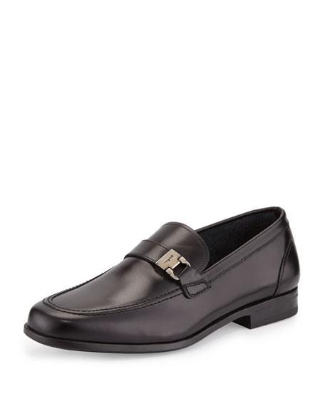Calfskin Side-Buckle Loafer on Rubber Sole, Black