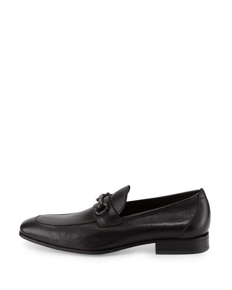 Livingstone Soft Calfskin Gancini Loafer, Black