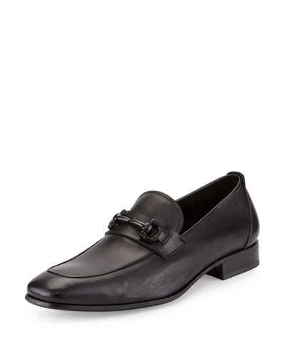 Livingston Leather Gancini Loafer, Nero