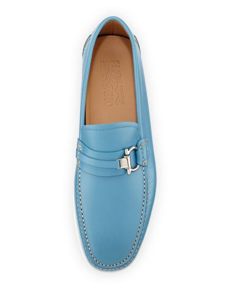 Calfskin Side Gancio Loafer on Rubber Sole, Sky Blue