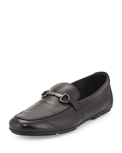 Nowell Patent Leather Gancini Driver, Black