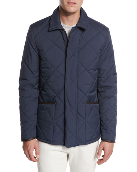 Wind Stretch Storm System® Quilted Horsey® Jacket, Blue Navy