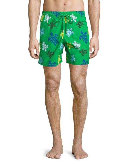 Vilebrequin Moorea Turtle-Print Swim Trunks, Green