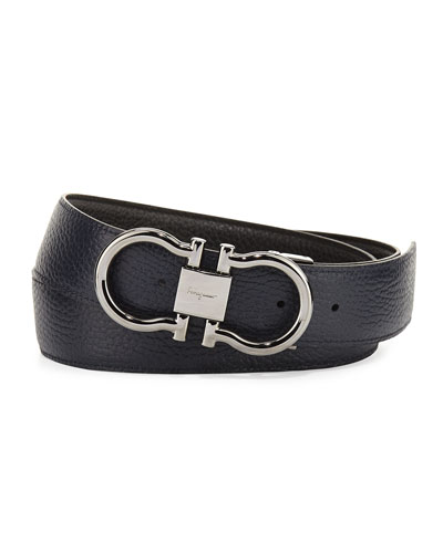 Leather Gancini Belt, Black/Blue Marine