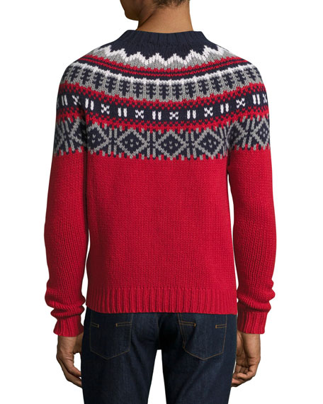 Fair Isle Crewneck Sweater, Red/Multi