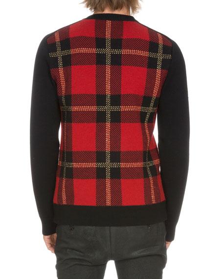 Tartan Plaid Wool-Blend Sweater, Black/Red