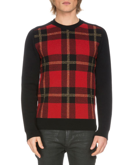 Tartan Plaid Wool-Blend Sweater, Black/Red