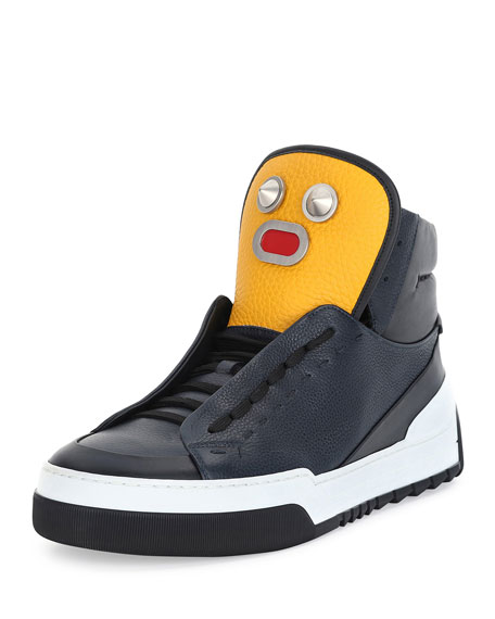 Fendi Men's Metal Face Leather High-Top Sneaker, Navy