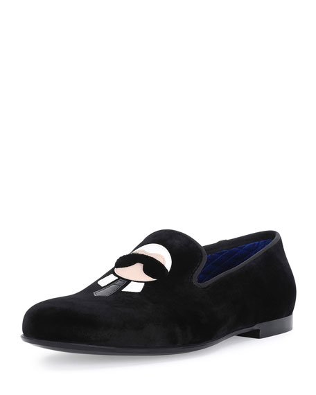 Fendi Karlito Formal Evening Slipper, Black
