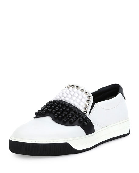 Fendi Karlito Beaded-Top Leather Slip-On Sneaker, White
