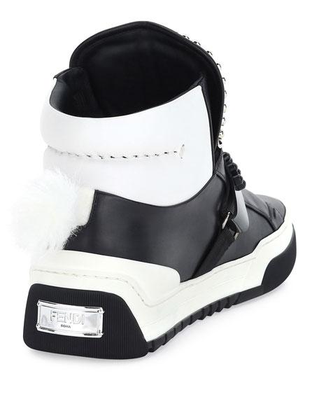 Karlito Men's High-Top Sneaker w/Fur Ponytail