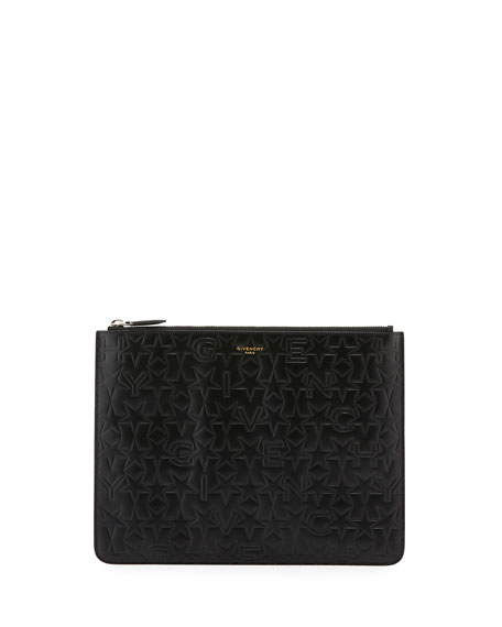 Givenchy Men's Embossed Logo Leather Pouch, Black