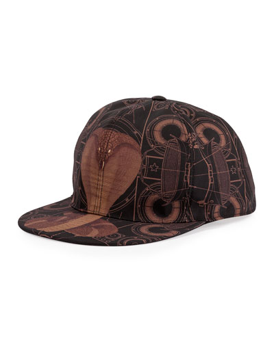 Cobra-Print Flat-Bill Hat, Black