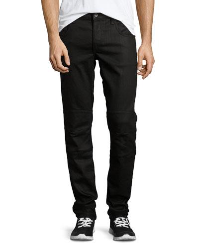 Coated Five-Pocket Moto Jeans, Black