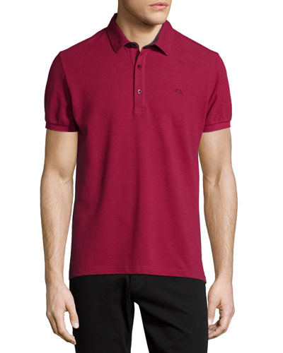 Short-Sleeve Polo Shirt w/Paisley Details, Red