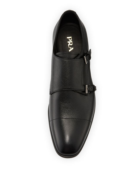 3a77672d96 Saffiano Leather Double-Monk Shoe Black
