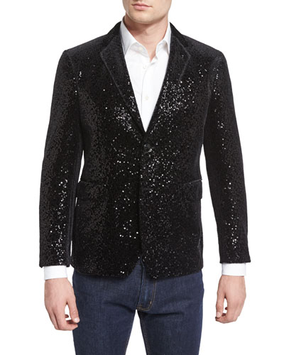 Allover-Sequin Sport Coat, Black