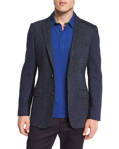 Patchwork Mixed-Woven Sport Coat, Navy