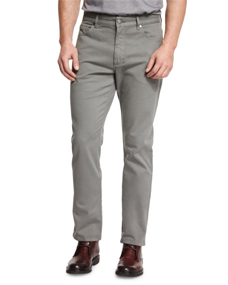 Ermenegildo Zegna Five-Pocket Stretch-Cotton Pants, Green