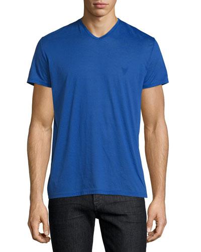 V-Neck Short-Sleeve Jersey T-Shirt, Purple