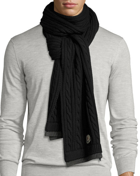 Men's Bicolor Wool Cable-Knit Scarf