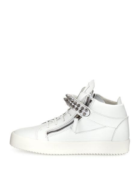 Men's Studded Leather Mid-Top Sneakers