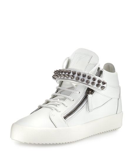 Giuseppe Zanotti Men's Studded Leather Mid-Top Sneaker
