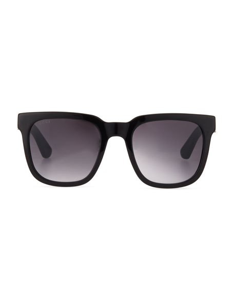 Injected Propionate Square-Frame Sunglasses, Black/Red