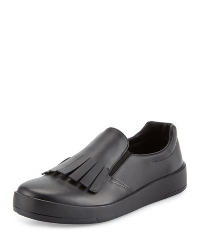 Fringed Leather Slip-On Sneaker