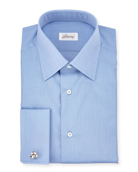 Brioni End-on-End French-Cuff Dress Shirt, Blue