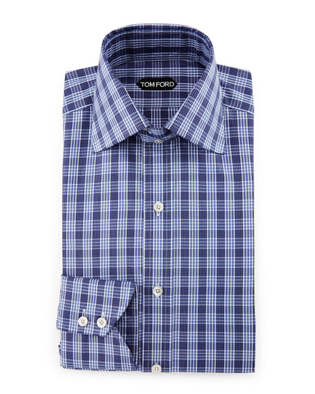 Bicolor Double-Check Slim-Fit Shirt, White/Black