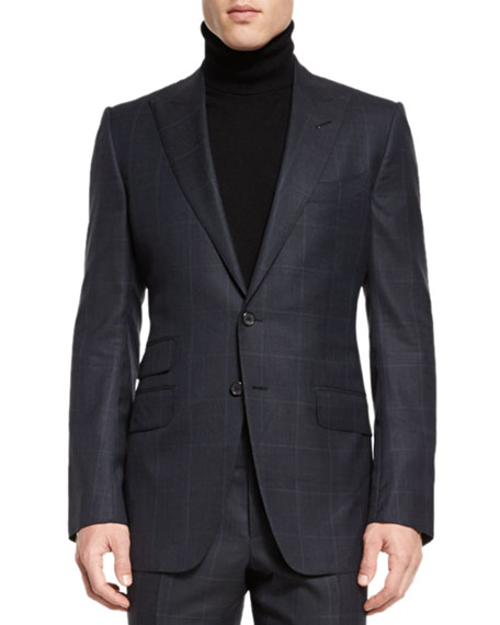 TOM FORD O'CONNOR BASE PRINCE OF WALES TWO-PIECE SUIT, NAVY