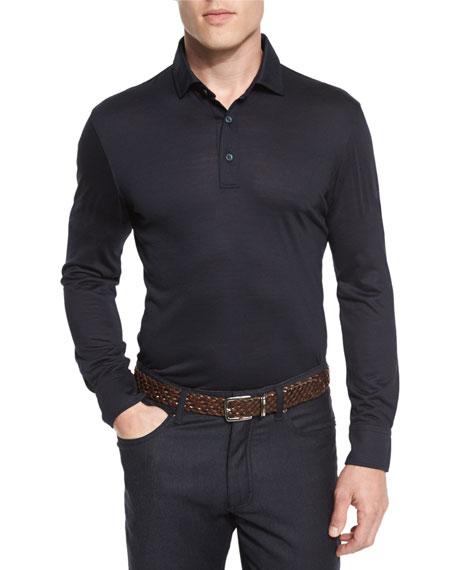 High-Performance Merino Wool Long-Sleeve Polo Shirt, Navy