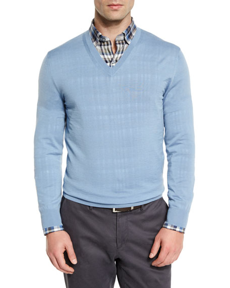 Ermenegildo Zegna High-Performance Wool V-Neck Sweater, Light