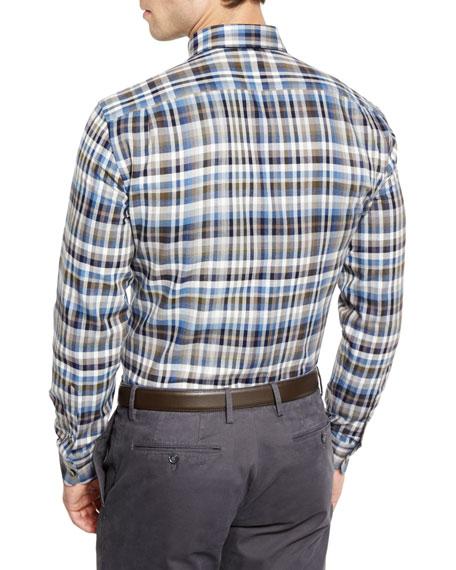 Plaid Long-Sleeve Sport Shirt, Blue Pattern