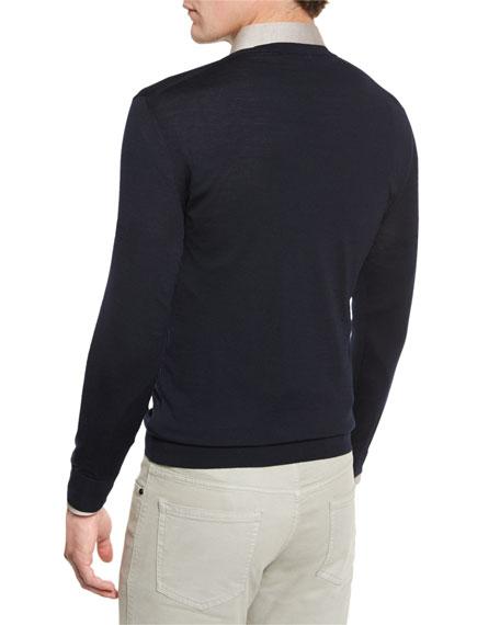 High-Performance Merino Wool V-Neck Sweater, Navy