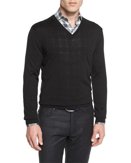 Ermenegildo Zegna High-Performance Merino Wool V-Neck Sweater,