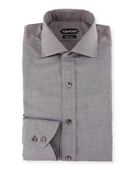Slim-Fit End-on-End Dress Shirt, White/Black