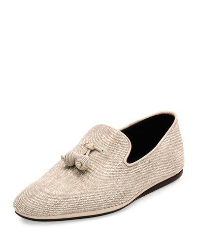 Fabio Fabric Slip-On with Tassels, Chalk/Ecru