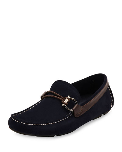 Front Suede and Calfskin Side-Gancio Driver, Navy/Brown