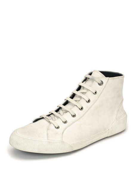 Distressed Canvas High-Top Sneaker, White