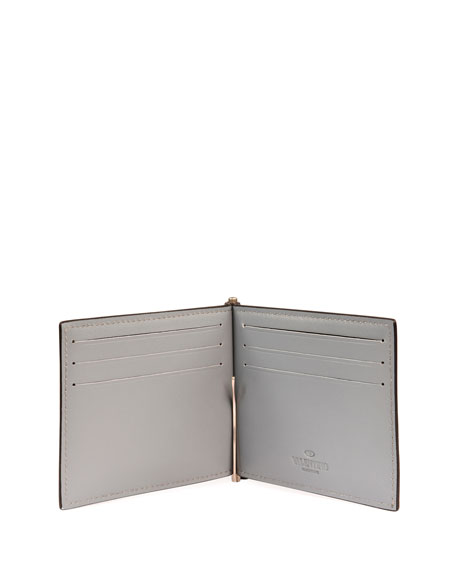Unfinished Camo Rockstud Leather Money Clip Wallet
