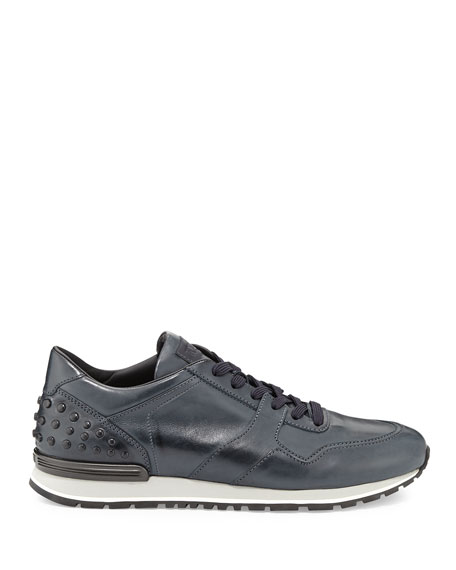 Men's Burnished Leather Trainer Sneakers, Navy