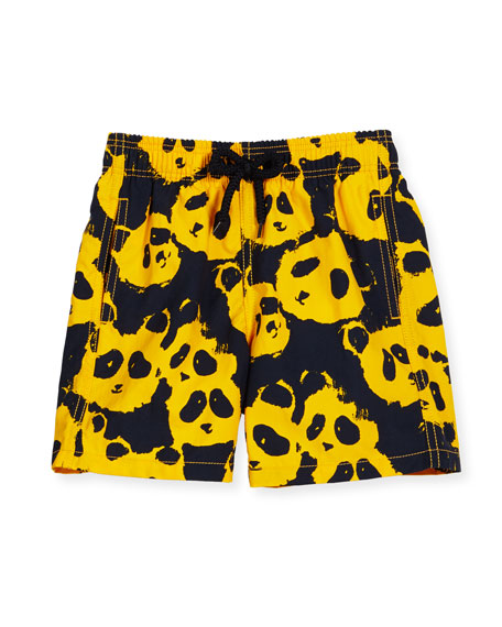 Vilebrequin Jim Panda Printed Swim Trunks, Turmeric, Boys'